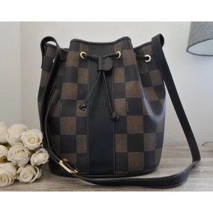 Fendi Checkered Drawstring Bucket Crossbody Bag